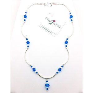 OOAK Blue Glass & Swarovski Crystal Necklace